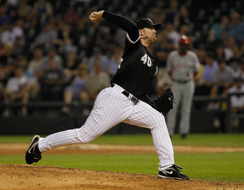 CHICAGO - JULY 07: J.J. Putz #40 of the Chicago White Sox pitches against the Los Angeles Angels of Anaheim at U.S. Cellular Field on July 7, 2010 in Chicago, Illinois. The White Sox defeated the Angels 5-2. (Photo by Jonathan Daniel/Getty Images)