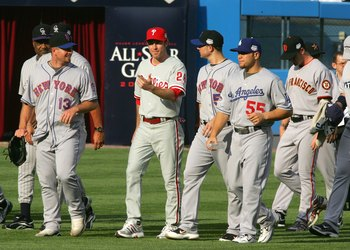 NEW YORK - JULY 15:  (L-R) National League All-Stars Coach Don Baylor of the Colorado Rockies, Billy Wagner #13 of the New York Mets, Chase Utley #26 of the Philadelphia Phillies, David Wright #5 of the New York Mets, Russell Martin #55 of the Los Angeles