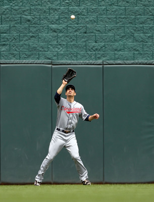 KANSAS CITY, MO - MAY 13:  Grady Sizemore #24 of the Cleveland Indians makes a catch during the game against the Kansas City Royals on May 13, 2010 at Kauffman Stadium in Kansas City, Missouri.  (Photo by Jamie Squire/Getty Images)