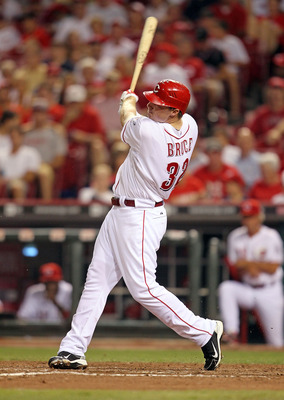 CINCINNATI - JULY 17:  Jay Bruce #32 of the Cincinnati Reds swings at a pitch during the game against the Colorado Rockies at Great American Ball Park on July 17, 2010 in Cincinnati, Ohio. He hit two home runs during the game.  (Photo by Andy Lyons/Getty