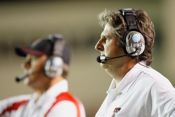 LUBBOCK, TEXAS - NOVEMBER 1:  Head coach Mike Leach of the Texas Tech Red Raiders watches the action during the game against the Texas Longhorns on November 1, 2008 at Jones Stadium in Lubbock, Texas. (Photo by: Jamie Squire/Getty Images)