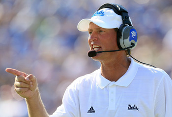 PASADENA, CA - OCTOBER 02:  Head Coach Rick Neuheisel of the UCLA Bruins watches the game against the Washington State Cougars during the game at the Rose Bowl on October 2, 2010 in Pasadena, California. UCLA defeated Washington State 42-28.  (Photo by Je