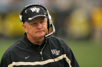 CHARLOTTE, NC - DECEMBER 29:  Head coach Jim Grobe of the Wake Forest Demon Deacons watches on during their game against the Connecticut Huskies at Bank of America Stadium on December 29, 2007 in Charlotte, North Carolina.  (Photo by Streeter Lecka/Getty 