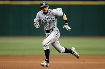 ST PETERSBURG, FL - SEPTEMBER 26: Ichiro Suzuki #51 of the Seattle Mariners heads to third base against the Tampa Bay Rays at Tropicana Field on September 26, 2010 in St. Petersburg, Florida. (Photo by Eliot J. Schechter/Getty Images)