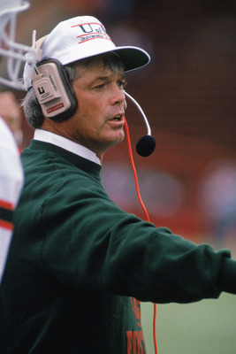 SEPTEMBER 9:  Head Coach Dennis Erickson of the University of Miami Hurricanes instructs from the sidelines during a game against University of Wisconsin Badgers on September 9, 1989. Miami won 51-3.  (Photo by: Jonathan Daniel/Getty Images)