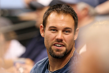 ST PETERSBURG, FL - OCTOBER 02:  Former NFL player Mike Alstott of the Tampa Bay Buccaneers watches the Chicago White Sox take on the Tampa Bay Rays in Game 1 of the American Leaugue Divisional Series at Tropicana Field on October 2, 2008 in St. Petersbur