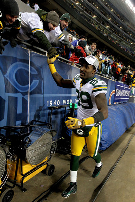 CHICAGO, IL - JANUARY 23:  James Jones #89 of the Green Bay Packers reacts after the Packers 21-14 victory against the Chicago Bears in the NFC Championship Game at Soldier Field on January 23, 2011 in Chicago, Illinois.  (Photo by Andy Lyons/Getty Images