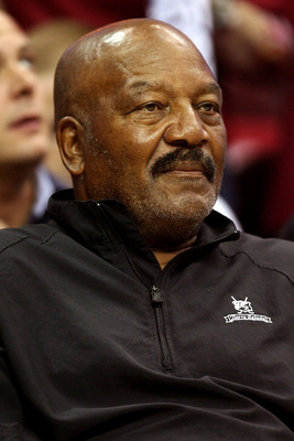 CLEVELAND - MAY 20: Hall of fame football player Jim Brown attends Game One of the Eastern Conference Finals between the Cleveland Cavaliers and the Orlando Magic during the 2009 Playoffs at Quicken Loans Arena on May 20, 2009 in Cleveland, Ohio. NOTE TO