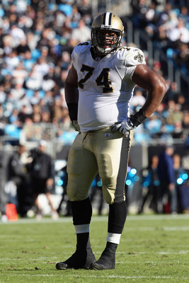 CHARLOTTE, NC - NOVEMBER 07:  Jermon Bushrod #74 of the New Orleans Saints against the Carolina Panthers during their game at Bank of America Stadium on November 7, 2010 in Charlotte, North Carolina.  (Photo by Streeter Lecka/Getty Images)