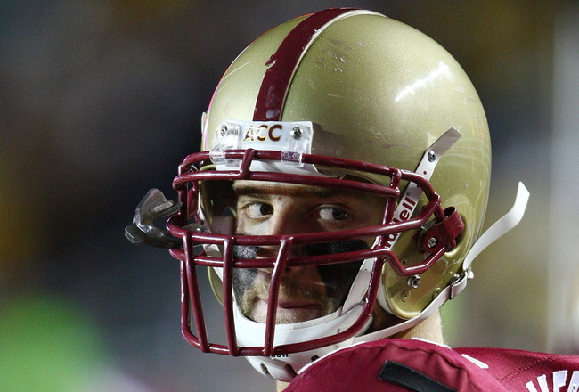 CHESTNUT HILL, MA - NOVEMBER 03:  Mark Herzlich #94 of the Boston College Eagles looks on after a tough loss to the Florida State Seminoles on November 3, 2007 at Alumni Stadium in in Chestnut Hill, Massachusetts. Florida State defeated Boston College 27-