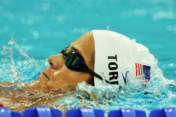 BEIJING - AUGUST 06:  Dara Torres of the United States of America swims in the pool during a practice session ahead of the Beijing 2008 Olympics at National Aquatics Center on August 6, 2008 in Beijing, China.  (Photo by Mark Dadswell/Getty Images)