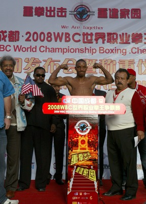 CHENGDU, CHINA - NOVEMBER 6: (CHINA OUT)  Devon Alexander of the USA attends the weigh-in ceremony prior to his fight against Sun-Haeng Lee of South Korea in the 2008 WBC World Championship Lightweight bout on November 6, 2008 in Chengdu of Sichuan Provin
