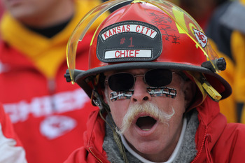 KANSAS CITY, MO - JANUARY 09:  A fan of the Kansas City Chiefs supports his team against the Baltimore Ravens as the Ravens defeated the Chiefs 30-7 in the 2011 AFC wild card playoff game at Arrowhead Stadium on January 9, 2011 in Kansas City, Missouri.