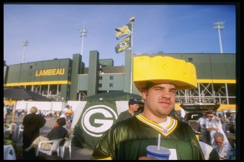 1 Sep 1997:  A Green Bay Packers fan wears a 'cheese head' prior to the Packers 38-24 win over the Chicago Bears at Lambeau Field in Green Bay, Wisconsin. Mandatory Credit: Jonathan Daniel  /Allsport