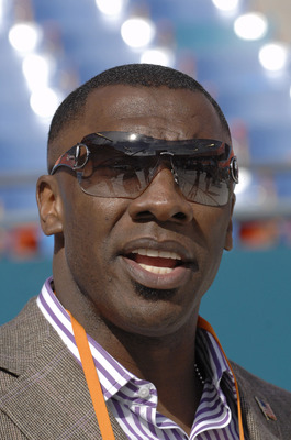 Shannon Sharpe during Media Day prior to Super Bowl XLI at Dolphins Stadium in Miami, Florida on January 30, 2007.  (Photo by Al Messerschmidt/Getty Images)
