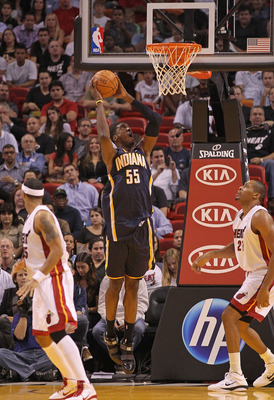 MIAMI - NOVEMBER 22: Roy Hibbert #55 of the Indiana Pacers dunks during a game against the Miami Heat at American Airlines Arena on November 22, 2010 in Miami, Florida. NOTE TO USER: User expressly acknowledges and agrees that, by downloading and/or using
