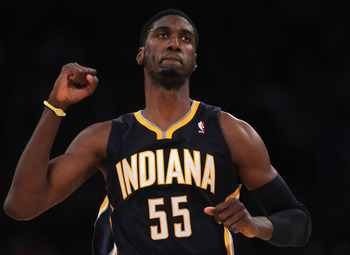 LOS ANGELES, CA - NOVEMBER 28:  Roy Hibbert #55 of the Indiana Pacers celebrates after making a basket late in the fourth quarter against the Los Angeles Lakers at Staples Center on November 28, 2010 in Los Angeles, California. The Pacers defeated the Lak