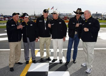 HAMPTON, GA - MARCH 18:  (L-R) Grand Marshals, David Pearson, Donnie Allison, Buddy Baker, Ned Jarrett, Richard Petty, and Benny Parsons give the command to start engines prior to the strat of the NASCAR Busch Series Nicorette 300 at the Atlanta Motor Spe