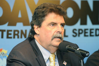 DAYTONA BEACH, FL - JANUARY 21:  Mike Helton, NASCAR President, updates the media on the competition in NASCAR at Daytona International Speedway on January 21, 2011 in Daytona Beach, Florida.  (Photo by Jared C. Tilton/Getty Images for NASCAR)