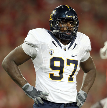 TUCSON, AZ - SEPTEMBER 25:  Defensive tackle Cameron Jordan #97 of the California Golden Bears during the college football game against the Arizona Wildcats at Arizona Stadium on September 25, 2010 in Tucson, Arizona. The Wildcats defeated the Golden Bear