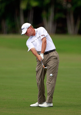 HONOLULU, HI - JANUARY 15:  Steve Stricker plays a shot during the second round of the Sony Open at Waialae Country Club on January 15, 2011 in Honolulu, Hawaii.  (Photo by Sam Greenwood/Getty Images)