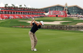 ABU DHABI, UNITED ARAB EMIRATES - JANUARY 22:  Martin Kaymer of Germany playing his second shot at the 18th hole during the third round of the 2011 Abu Dhabi HSBC Golf Championship held at the Abu Dhabi Golf Club on January 22, 2011 in Abu Dhabi, United A