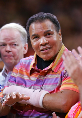 PHOENIX - MARCH 09:  Muhammad Ali attends the game between Phoenix Suns and the San Antonio Spurs at US Airways Center March 9, 2008 in Phoenix, Arizona.  NOTE TO USER: User expressly acknowledges and agrees that, by downloading and or using this Photogra