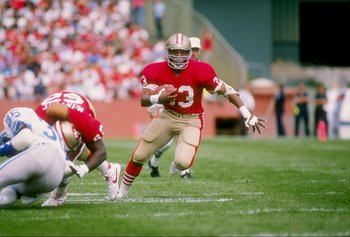 2 Oct 1988: Running back Roger Craig of the San Francisco 49ers runs down the field during a game against the Detroit Lions at Candlestick Park in San Francisco, California. The 49ers won the game 20-13.