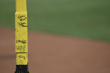 BOSTON - OCTOBER 24:  A detail view of Peske's Pole  in right field prior to Game One of the 2007 Major League Baseball World Series between the Colorado Rockies and the Boston Red Sox at Fenway Park on October 24, 2007 in Boston, Massachusetts.  (Photo b