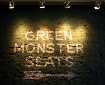 BOSTON - AUGUST 01:  The sign directs fans to the Green Monster seats during the game between the Detroit Tigers and the Boston Red Sox on August 1, 2010 at Fenway Park in Boston, Massachusetts.  (Photo by Elsa/Getty Images)