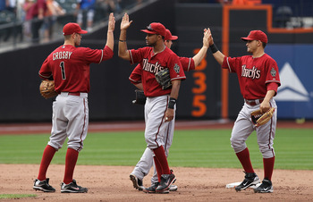 NEW YORK - AUGUST 01: The Arizona Diamondbacks celebrate their win against the New York Mets at Citi Field on August 1, 2010 in the Flushing neighborhood of the Queens borough of New York City.  (Photo by Nick Laham/Getty Images)