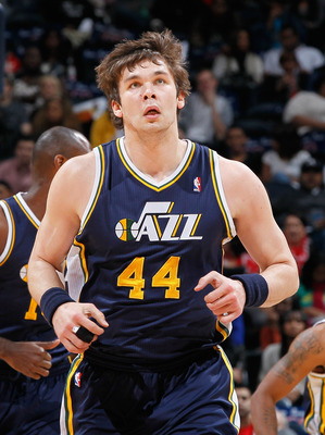 ATLANTA - NOVEMBER 12:  Kyrylo Fesenko #44 of the Utah Jazz against the Atlanta Hawks at Philips Arena on November 12, 2010 in Atlanta, Georgia.  NOTE TO USER: User expressly acknowledges and agrees that, by downloading and/or using this Photograph, User