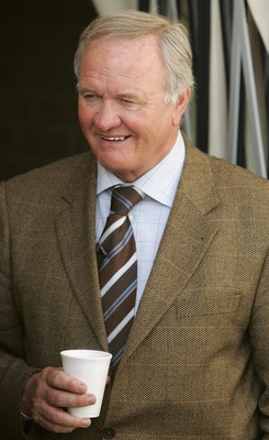 KETTERING, UNITED KINGDOM - JANUARY 27:  New Director of Football at Kettering, Ron Atkinson looks on before the Nationwide Conference North match between Kettering Town and Droylsden at Rockingham Road on January 27, 2007 in Kettering, England.  (Photo b