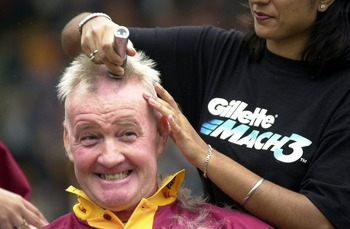 26 Aug  2000:   Sky TV presenter Rodney Marsh has his head shaved for charity at Valley Parade Stadium, Bradford. Mandatory Credit: Shaun Botterill/ALLSPORT