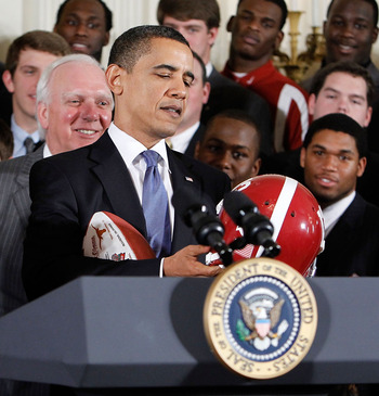 President Obama with National Champion Alabama