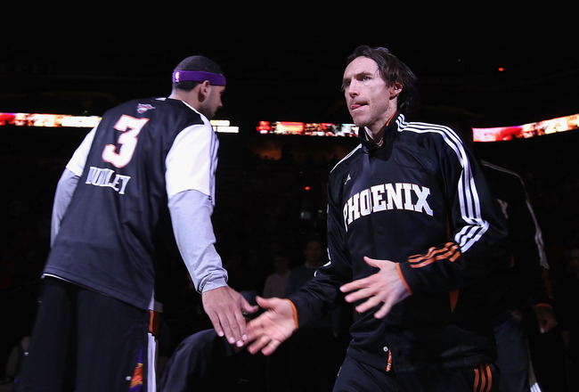 PHOENIX - DECEMBER 15:  Steve Nash #13 of the Phoenix Suns is introduced before the NBA game against the Minnesota Timberwolves at US Airways Center on December 15, 2010 in Phoenix, Arizona.  The Suns defeated the Timberwolves 128-122.  NOTE TO USER: User