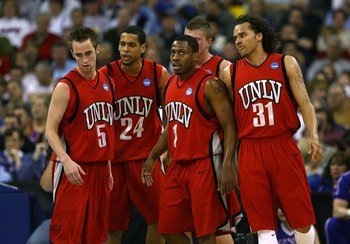 OMAHA, NE - MARCH 22:  (L-R) Kendall Wallace #5, Rene Rougeau #24, Wink Adams #1 and Curtis Terry #31 of the UNLV Runnin' Rebels stand on court against the Kansas Jayhawks during the Midwest Region second round of the 2008 NCAA Men's Basketball Tournament