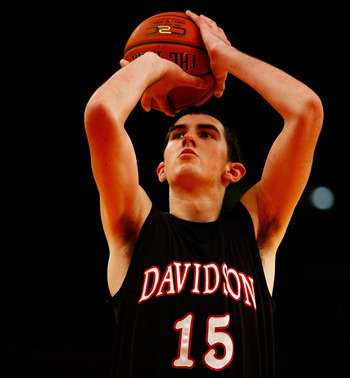 NEW YORK, NY - DECEMBER 20:  Jake Cohen #15 of the Davidson Wildcats attempts a free throw against the St. John's Red Storm during the Madison Square Garden Holiday Festival at Madison Square Garden on December 20, 2010 in New York City.  (Photo by Chris