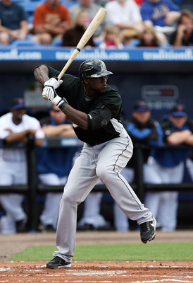 PORT ST LUCIE, FL - FEBRUARY 26:  Cameron Maybin #24 of the Florida Marlins bats against the New York Mets during a spring training game at Tradition Field on February 26, 2009 in Port St Lucie, Florida. The Mets defeated the Marlins 9-0.  (Photo by Doug