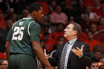 CHAMPAIGN, IL - JANUARY 18: Head coach Tom Izzo of the Michigan State Spartans talks with Derrick Nix #25 during the game against the Illinois Fighting Illini at Assembly Hall on January 18, 2011 in Champaign, Illinois. Illinois defeated Michigan State 71