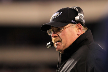 PHILADELPHIA, PA - JANUARY 09:  Head coach Andy Reid of the Philadelphia Eagles looks on against the Green Bay Packers during the 2011 NFC wild card playoff game at Lincoln Financial Field on January 9, 2011 in Philadelphia, Pennsylvania.  (Photo by Chris