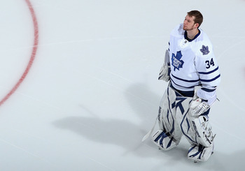 GLENDALE, AZ - JANUARY 13:  Goaltender James Reimer #34 of the Toronto Maple Leafs before the NHL game against the Phoenix Coyotes at Jobing.com Arena on January 13, 2011 in Glendale, Arizona. The Coyotes defeated the Maple Leafs 5-1.  (Photo by Christian