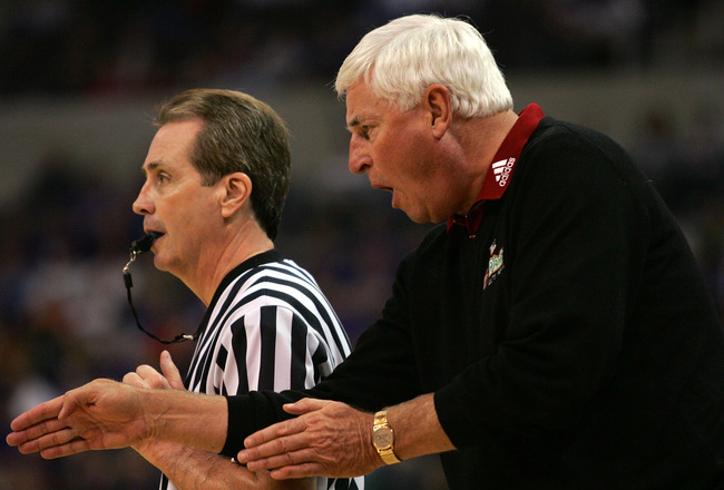 OKLAHOMA CITY - MARCH 09:  Head coach Bob Knight of the Texas Tech Red Raiders yells at a referee during the quarterfinal game of the Phillips 66 Big 12 Men's Basketball Championship against the Kansas State Wildcats on March 9, 2007 at the Ford Center in