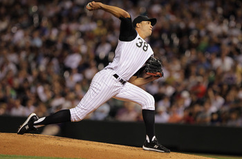 DENVER - SEPTEMBER 27:  Starting pitcher Ubaldo Jimenez #38 of the Colorado Rockies works against the Los Angeles Dodgers at Coors Field on September 25, 2010 in Denver, Colorado. Jiimenez failed to earn his 20th win of the season as the Dodgers defeated