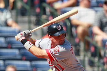 ATLANTA - SEPTEMBER 15:  Ryan Zimmerman #11 of the Washington Nationals against the Atlanta Braves at Turner Field on September 15, 2010 in Atlanta, Georgia.  (Photo by Kevin C. Cox/Getty Images)