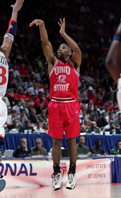 18 Mar 1999: Scoonie Penn #12 of Ohio State shoots over defender Bryant Smith #13 of Auburn during the third round of the NCAA Men's College Basketball Tournament at the Thompson-Boling Arena in Knoxville, Tennessee. Mandatory Credit: Todd Warshaw  /Allsp