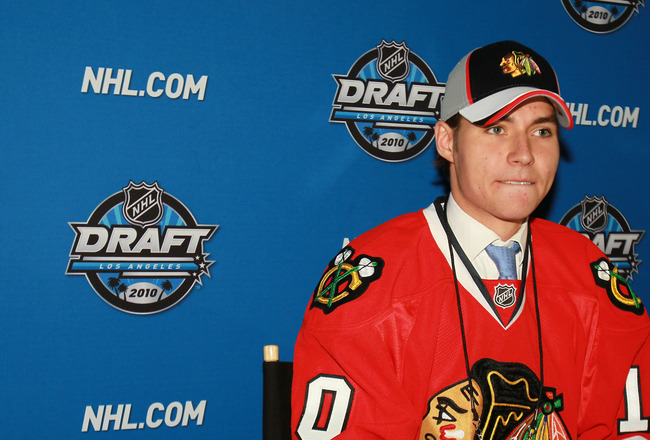LOS ANGELES, CA - JUNE 26:  Ludvig Rensfeldt, drafted in the second round by the Chicago Blackhawks, is interviewed during the 2010 NHL Entry Draft at Staples Center on June 26, 2010 in Los Angeles, California.  (Photo by Jeff Gross/Getty Images)