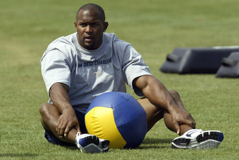 CARSON, CA - JULY 29:  Wide receiver David Boston #89 of the San Diego Chargers pauses while working out with a medicine ball during Chargers' training camp July 29, 2003 at the Home Depot Center in Carson, California.  Davis did not practice due to injur
