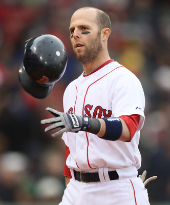 BOSTON - MAY 12:  Dustin Pedroia #15 of the Boston Red Sox reacts after he struck out in the eighth inning against the Toronto Blue Jays on May 12, 2010 at Fenway Park in Boston, Massachusetts.  (Photo by Elsa/Getty Images)