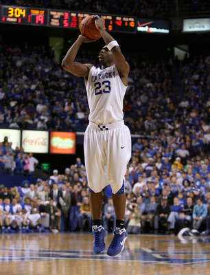 LEXINGTON, KY - DECEMBER 22:  Jodie Meeks #23 of the Kentucky Wildcats shoots the ball during the game against the Tennessee State Tigers at Rupp Arena on December 22, 2008 in Lexington,Kentucky.  (Photo by Andy Lyons/Getty Images)